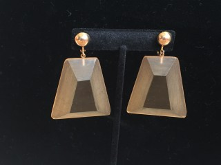 Early Rare Judith Hendler Trapezoidal Hand-Dyed Pendant Earrings Front View