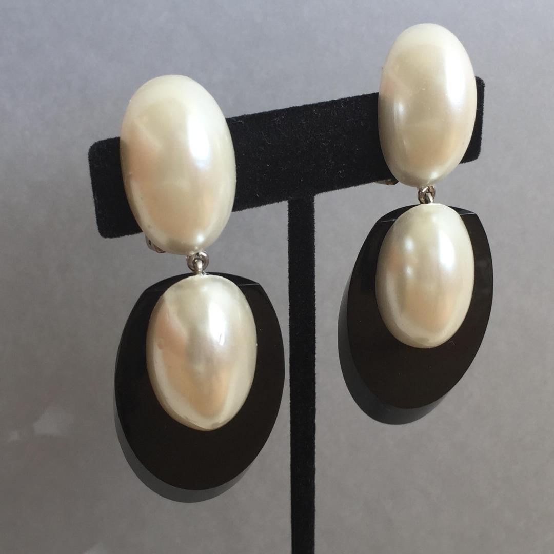 Judith Hendler Faux Pearl Black Acrylic Earrings