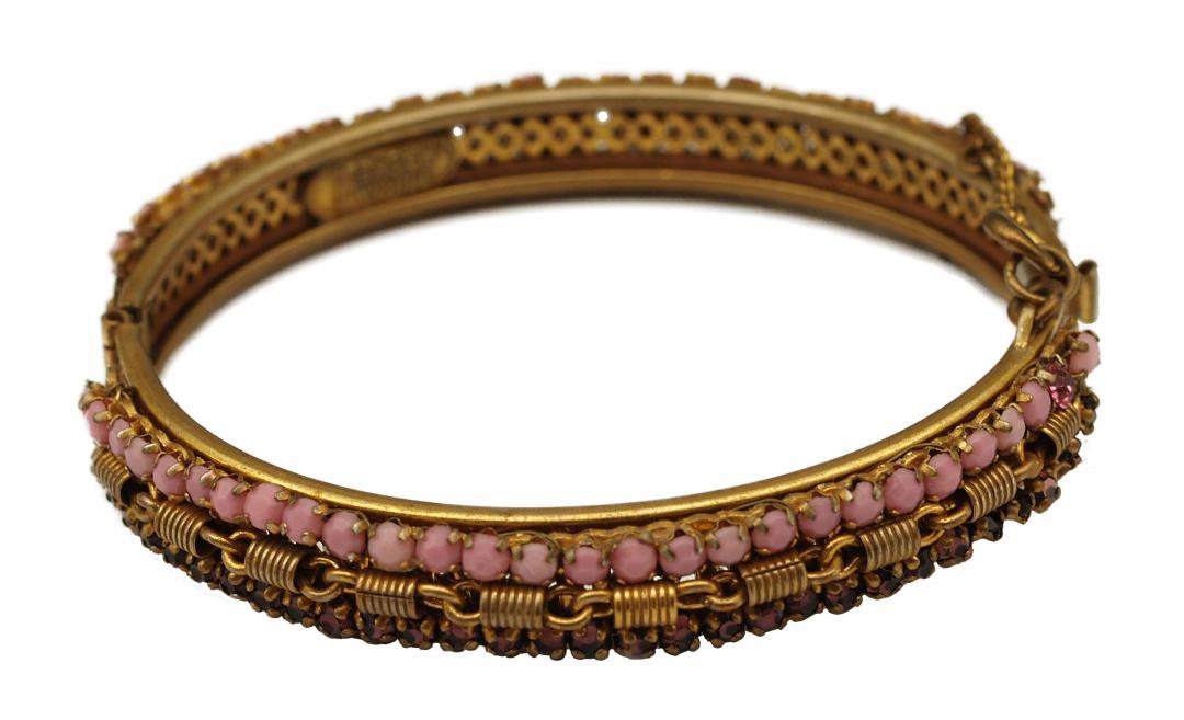 Vintage Miriam Haskell Dusty Pink Cabochons and Purple Rhinestones Hinged Bracelet