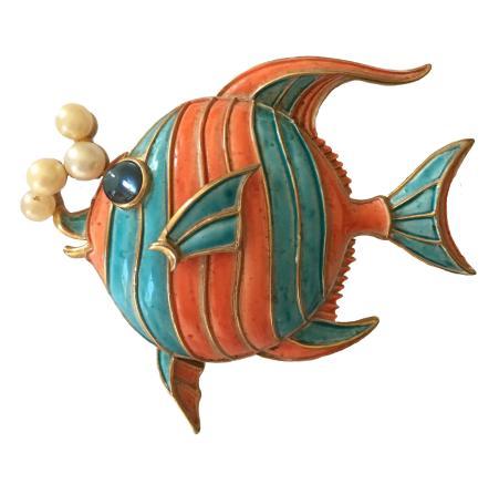 Trifari Enamel Angelfish Pin with Faux Pearl Bubbles
