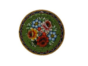 Vintage 1950s Italian Mosaic Floral Motif Circular Pin