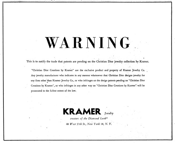 Kramer Jewelry Copyright Infringement Notice