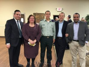 Columbus- L to R Rabbi Avi Goldstein, Michele Cassell, IDF Captain Oron Kalmanzon, Rabbi Tuly Weisz and Yossi Razker