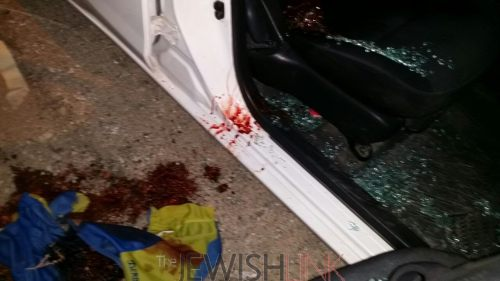 Scene of the drive-by attack /Credit: Hillel Maeir - Tazpit News Agency