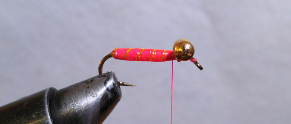 fly-fishing-hook-lead-free-wire-brass-barbell-eyes-pink-thread-gold-tinsel-flash-clear-nail-polish
