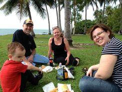 Jamie and Carol enjoy some croc pies in Port Douglas.