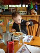Sam enjoying his Spaghetti he ordered for himself.