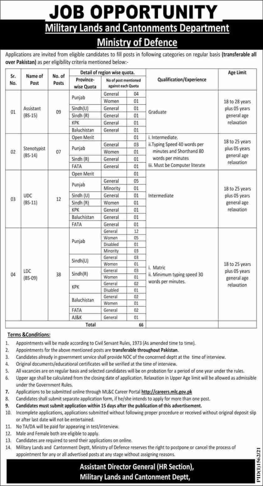 Military Lands and Cantonments MLC Jobs 2021- MOD Jobs
