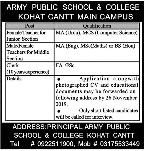 Army Public School College Kohat Jobs, Army jobs, Join Pak Army