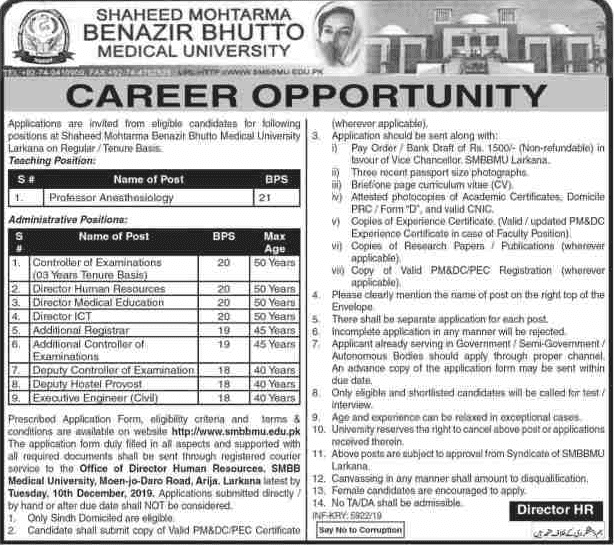 Benazir University SMBBMU Jobs