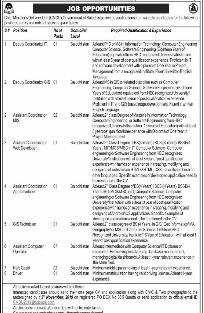 Chief Ministers Delivery Unit Balochistan Jobs
