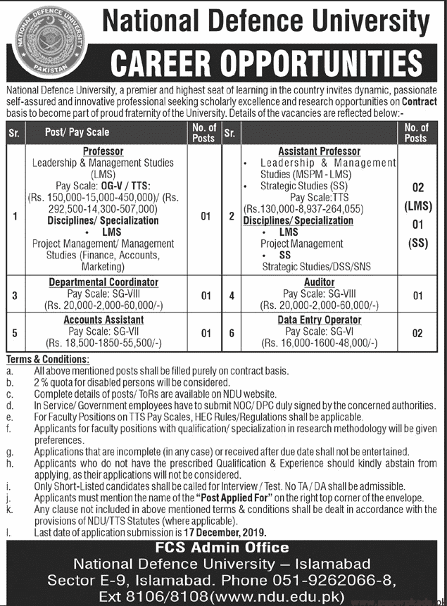National Defence University Jobs