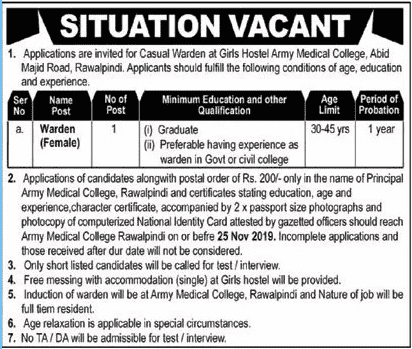 Army Medical College Rawalpindi Girls Hostel Jobs