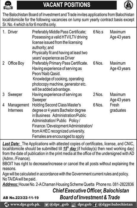 Board of Investment and Trade Jobs