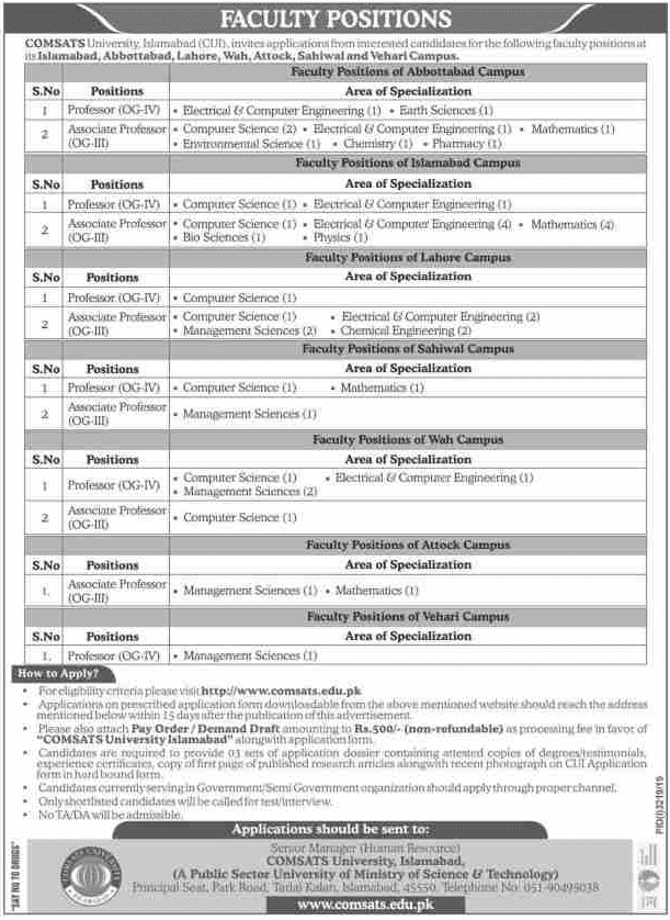 COMSATS University Islamabad Jobs