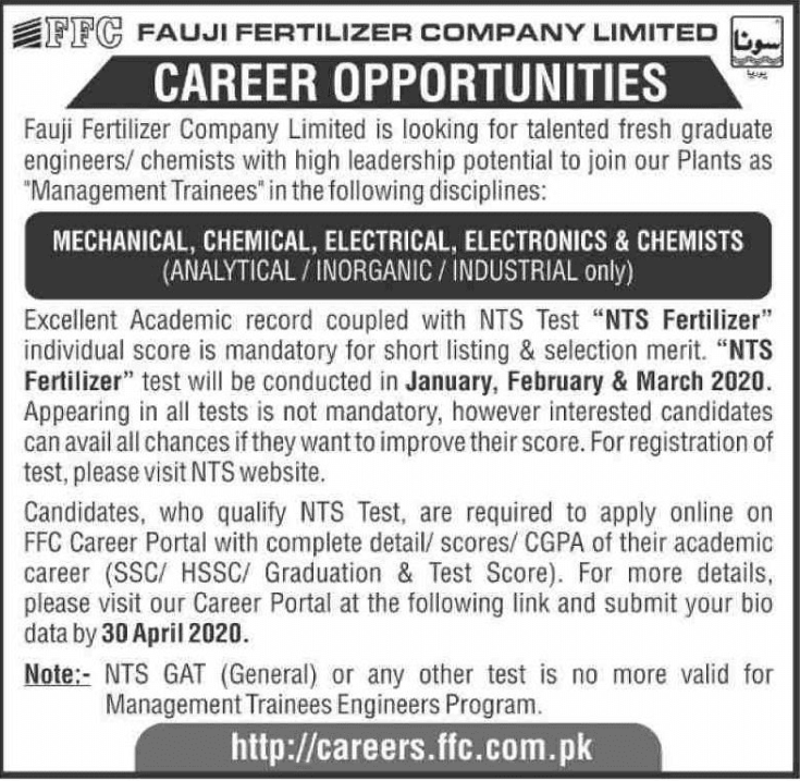 Fauji Fertilizer Company Jobs 2019