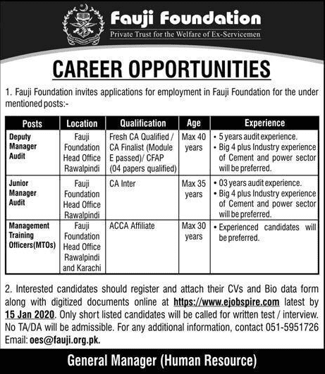 Fauji Foundation Hospital Jobs