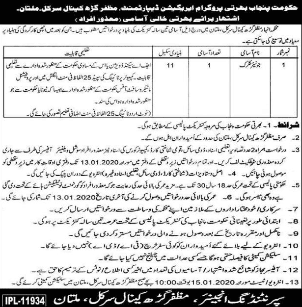 Irrigation Department Multan Jobs 2019