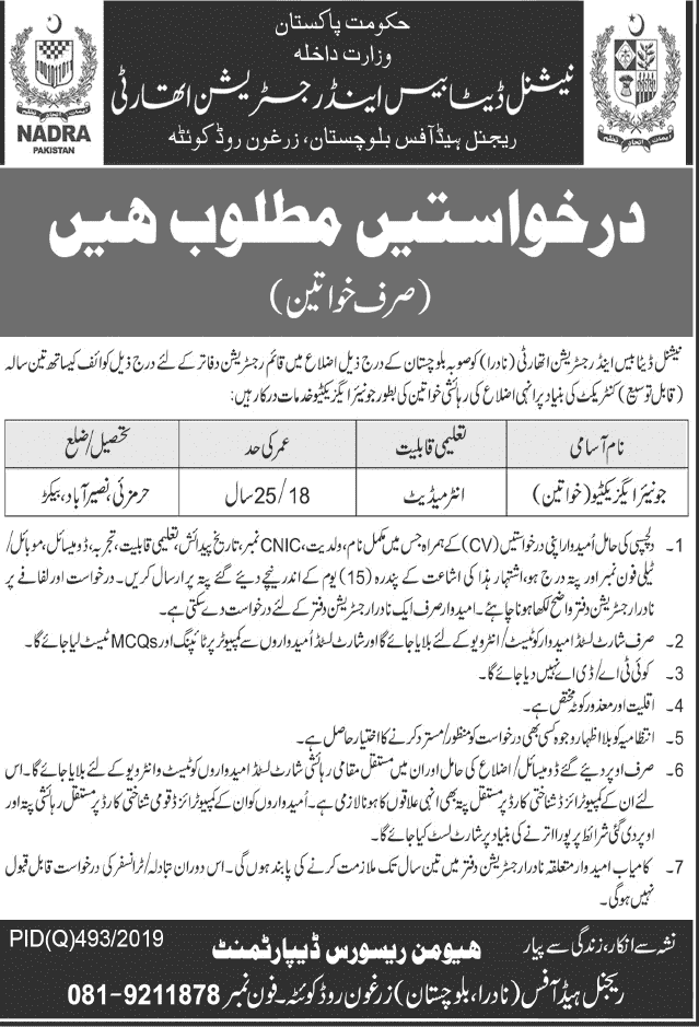 Nadra Pakistan Jobs 2019