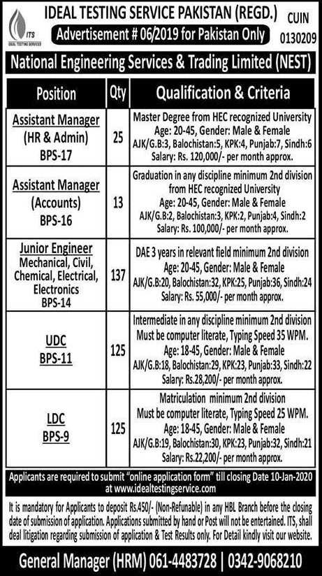 National Engineering Services Trading jobs 2019