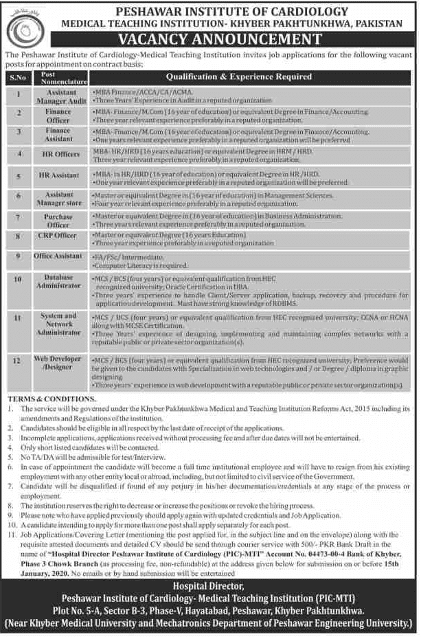 Peshawar Institute of Cardiology MTI Jobs 2020