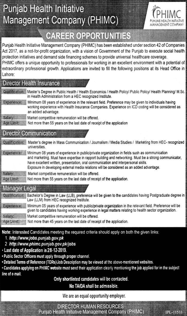 Punjab Health Initiative jobs 2019
