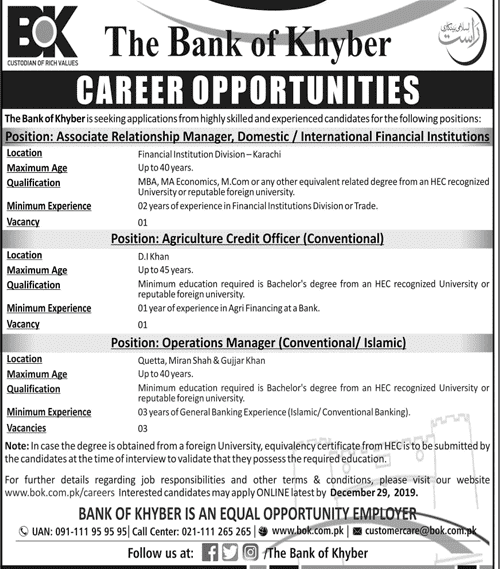 The Bank of Khyber BOK jobs 2019