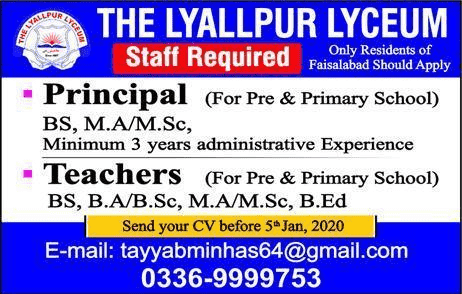 The Lyallpur Lyceum School Jobs 2020
