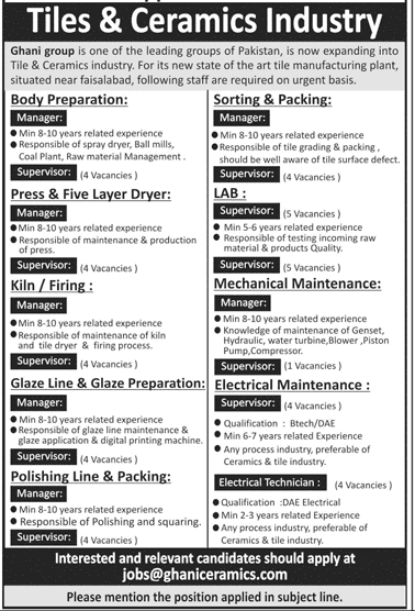 Tiles and Ceramics Industry jobs 2019