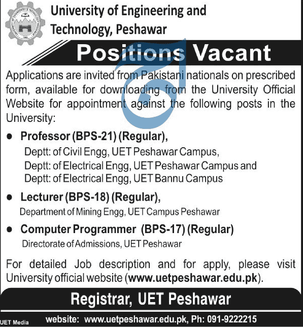 University of Engineering and Technology Jobs 2019