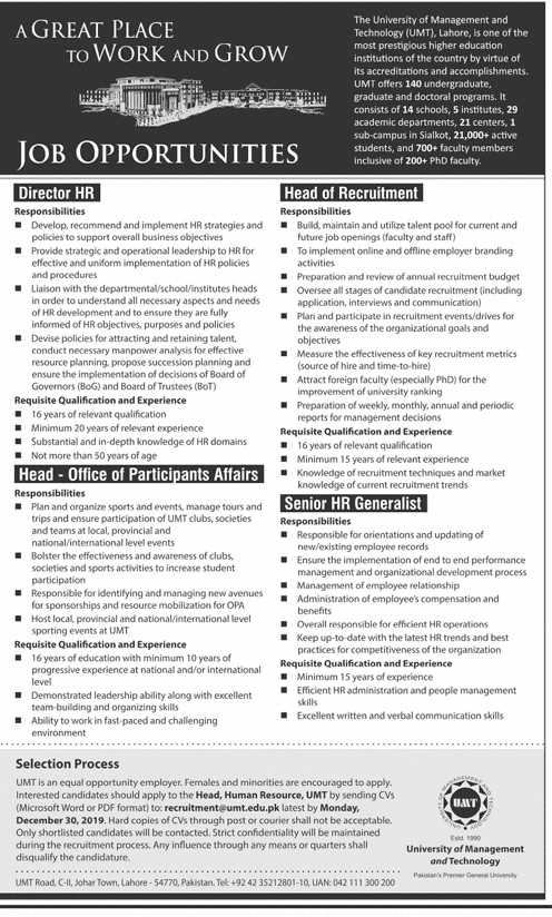 University of Management UMT jobs 2019