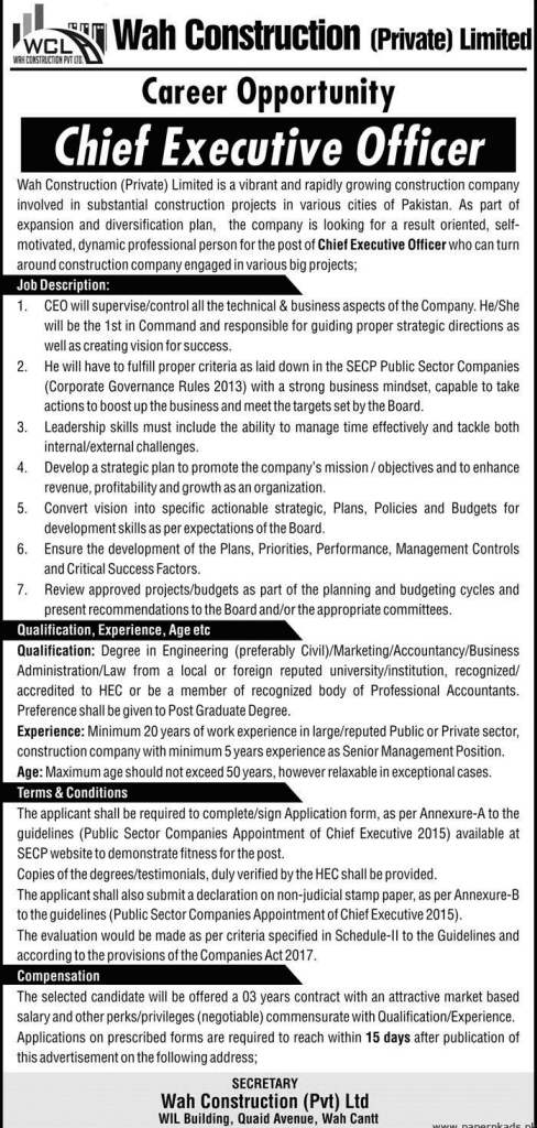 Wah Construction private Limited Jobs