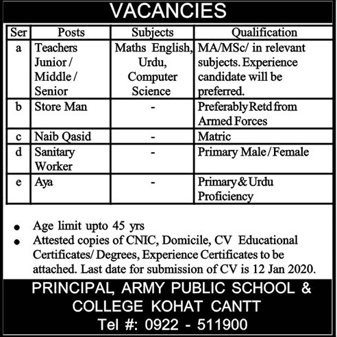 Army Public School and College Kohat Jobs 2020
