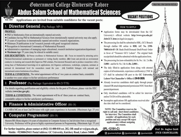 GC University Lahore Jobs 2020
