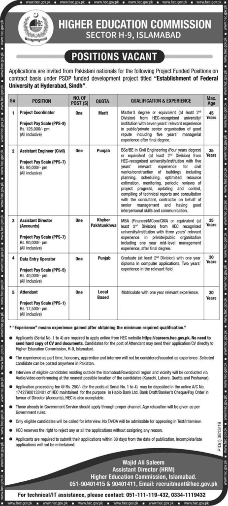 Higher Education Commission Jobs 2020
