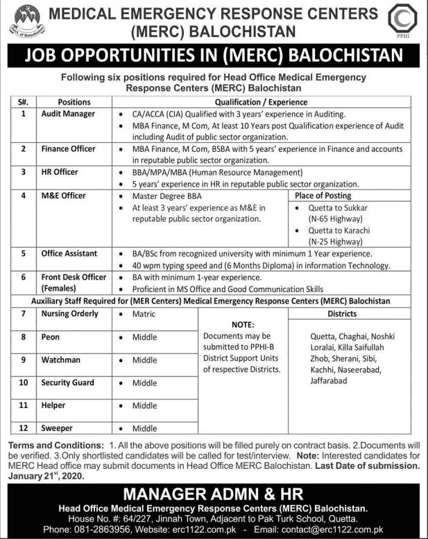 Medical Emergency Response Centers Jobs 2020