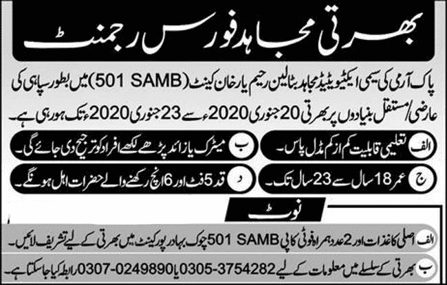 Mujahid Force Pakistan Army Jobs 2020