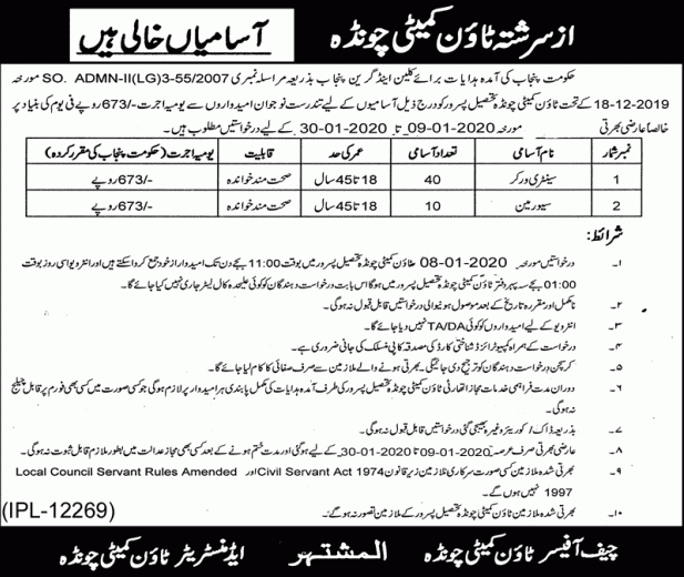 Municipal Committee Sialkot Jobs 2020