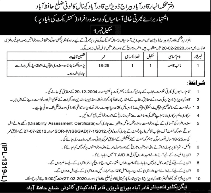 Canal Division Hafizabad Jobs 2020