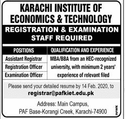 Karachi Institute of Economics Jobs 2020