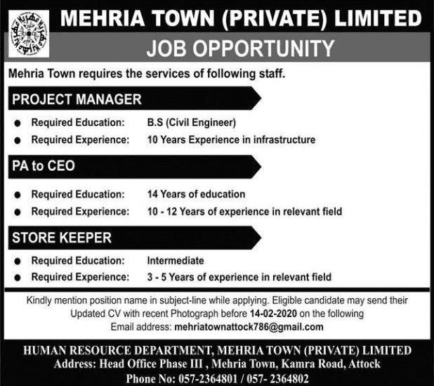 Mehran Town Private Limited Jobs 2020