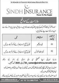 Sindh Insurance Limited Jobs 2020
