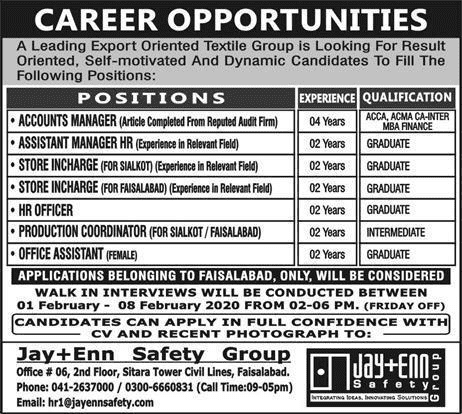 Textile Group Faisalabad Jobs 2020