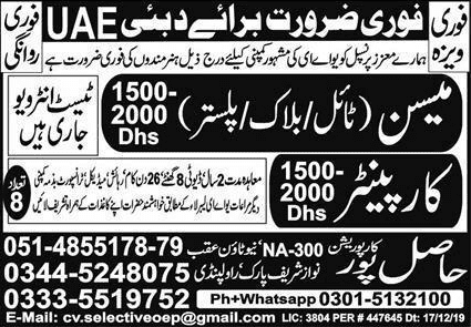Urgently Required for UAE Jobs 2020