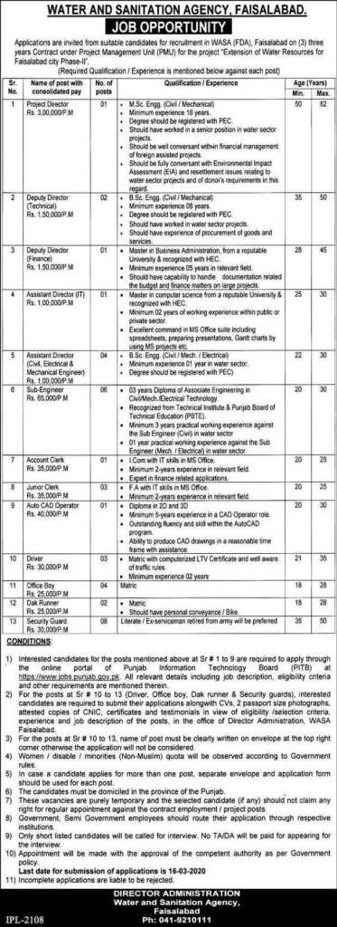 Water and Sanitation Agency Jobs 2020