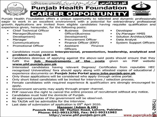 Punjab Health Foundation Jobs 2020