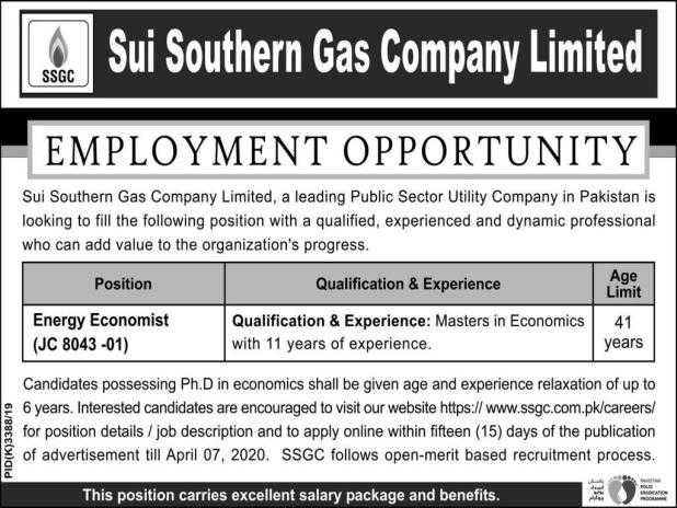 Sui Southern Gas Company Jobs 2020