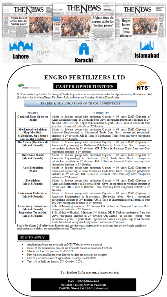 Engro Fertilizers Limited Jobs 2020
