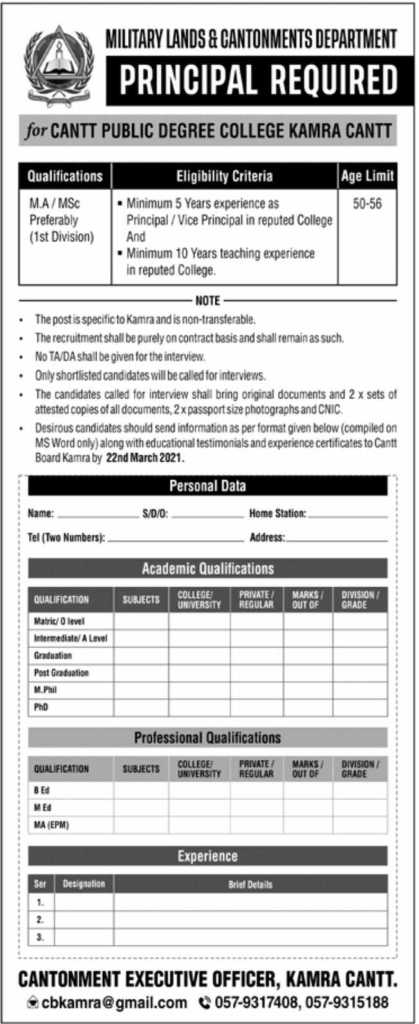 Military Lands Cantonments Jobs 2021
