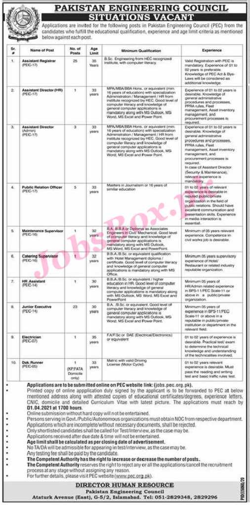 Pakistan Engineering Council Jobs 2021